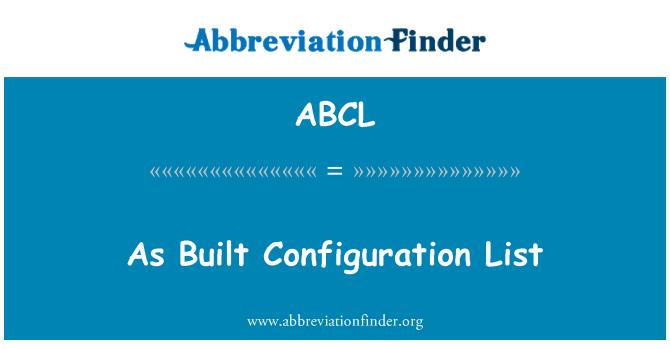 ABCL: Como la lista de configuración construido
