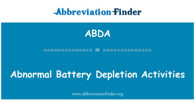 ABDA: Abnormal Battery Depletion Activities