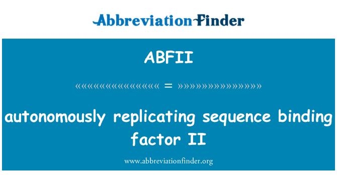 ABFII: لوگ تسلسل لازم عنصر II replicating