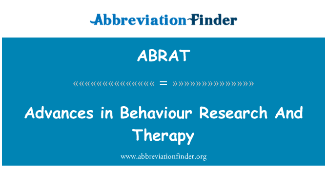 ABRAT: Advances in Behaviour Research And Therapy