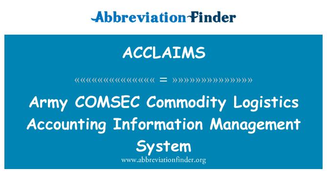 ACCLAIMS: Armee COMSEC kaupade logistika raamatupidamise teabe haldamise süsteem