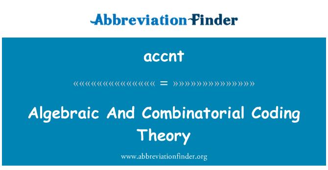 accnt: Teori pengkodan algebra dan telah
