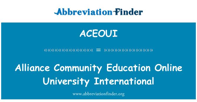 ACEOUI: Alliance Community Education Online University International