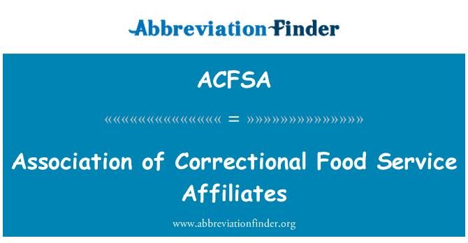ACFSA: Association of Correctional Food Service Affiliates