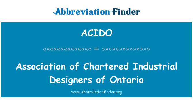 ACIDO: Association of Chartered Industrial Designers of Ontario