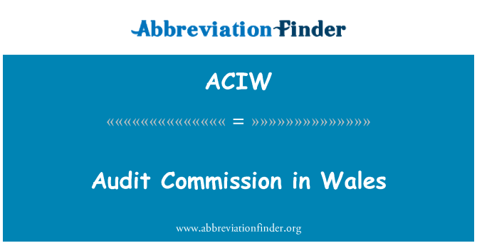 ACIW: Audit Commission in Wales