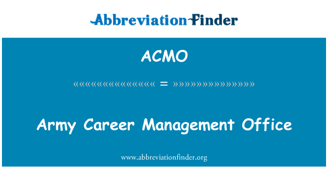 ACMO: Army Career Management Office