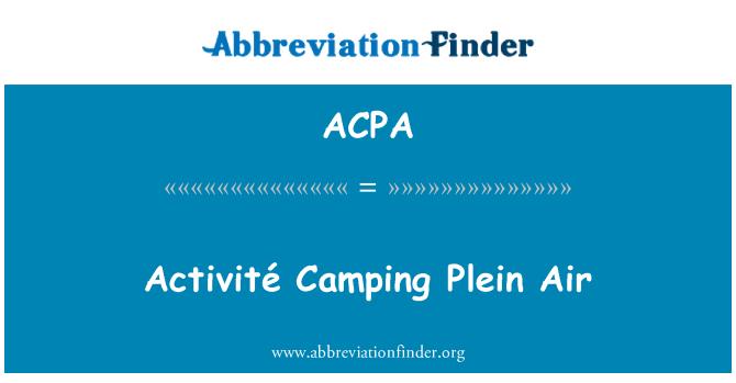 ACPA: Activité Camping Plein Air