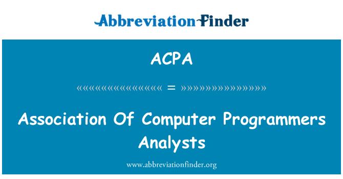 ACPA: Persatuan penganalisis pengaturcara komputer