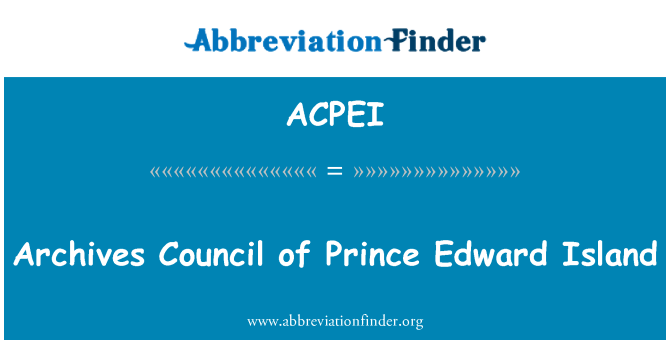 ACPEI: Archives Council of Prince Edward Island