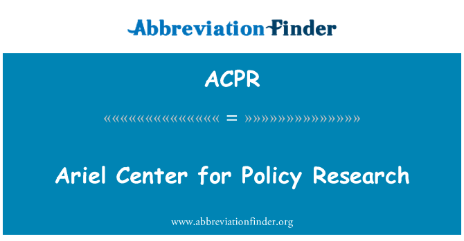 ACPR: Ariel Center for Policy Research