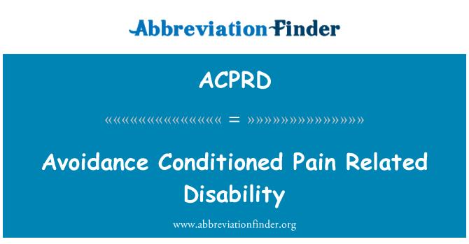ACPRD: 避免的痛苦适应相关的功能残疾