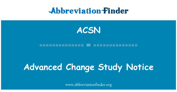 ACSN: Napredno sprememb študija obvestilo