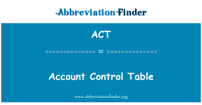 ACT: Account Control Table