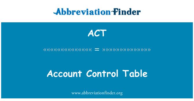 ACT: खाता नियंत्रण तालिका