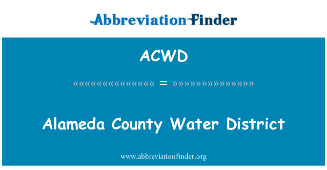 ACWD: Alameda County Water District
