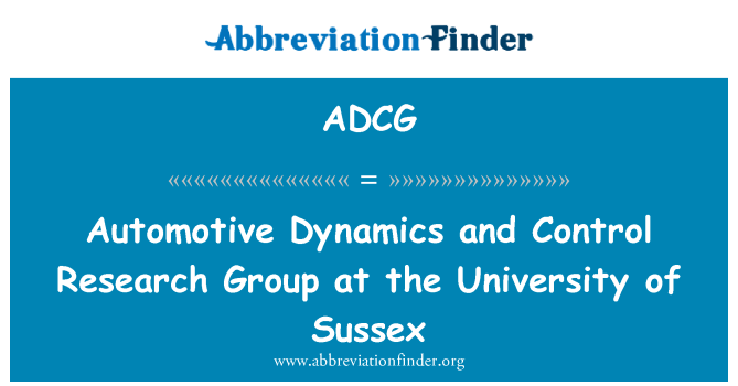 ADCG: Automotive Dynamics and Control Research Group at the University of Sussex