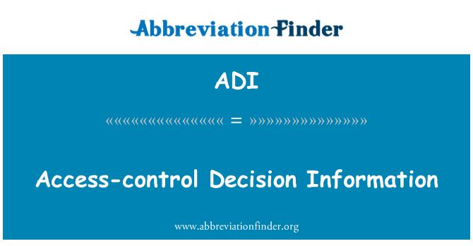 ADI: Access-control Decision Information