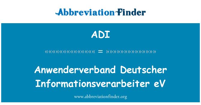 ADI: Anwenderverband Deutscher Informationsverarbeiter eV