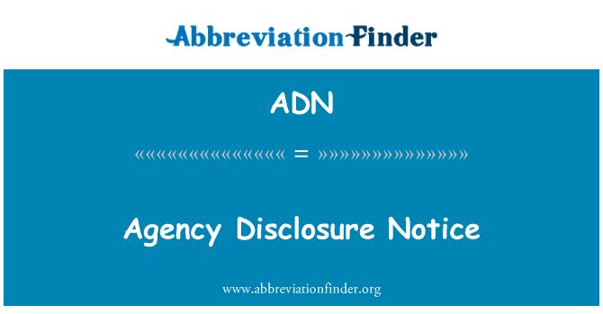 ADN: Agency Disclosure Notice