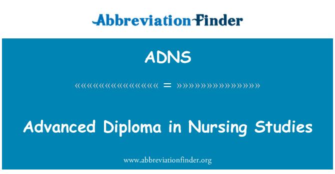 ADNS: Advanced Diploma in Nursing Studies