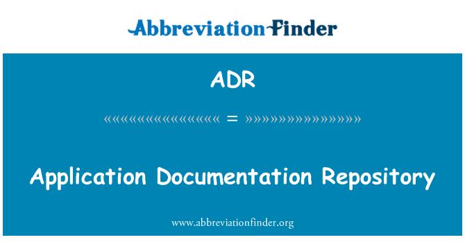 ADR: Application Documentation Repository