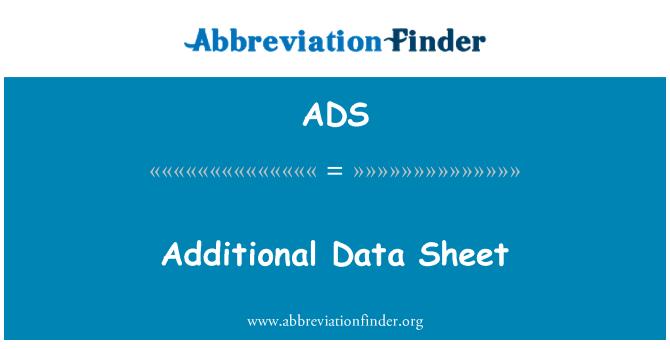 ADS: Additional Data Sheet