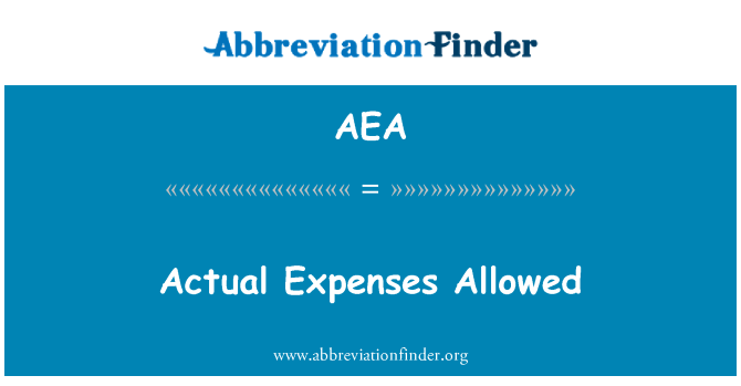 AEA: Actual Expenses Allowed