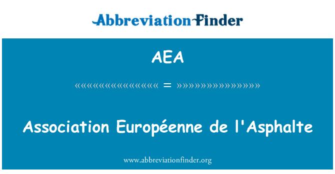 AEA: Association Européenne de l'Asphalte