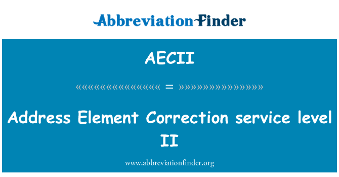 AECII: Address Element Correction service level II