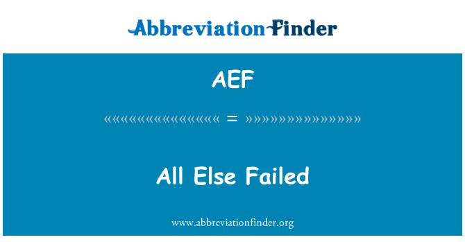 AEF: Tüm başka başarısız oldu