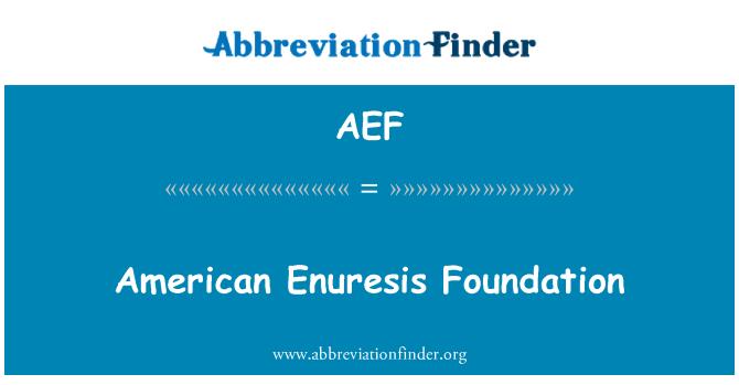 AEF: Amerikan Enürezis Vakfı