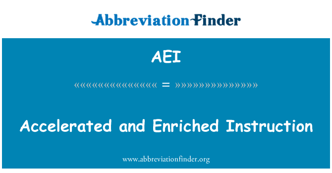 AEI: Accelerated and Enriched Instruction