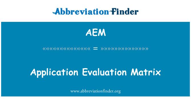 AEM: Matriz de evaluación de aplicación