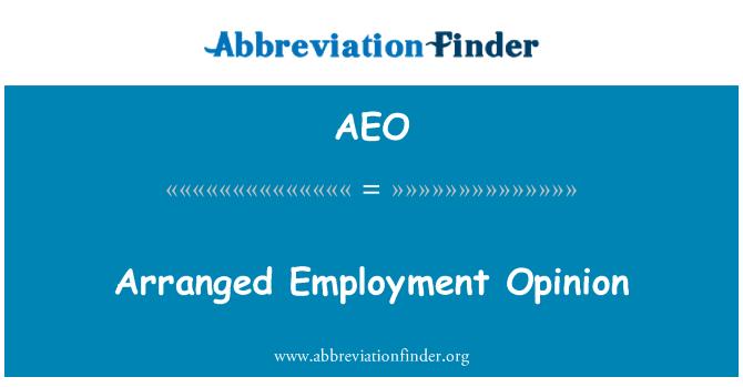 AEO: Arranged Employment Opinion