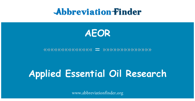 AEOR: Applied Essential Oil Research