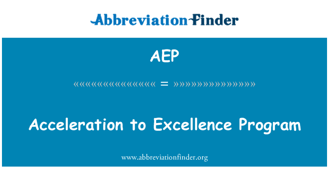 AEP: Acceleration to Excellence Program
