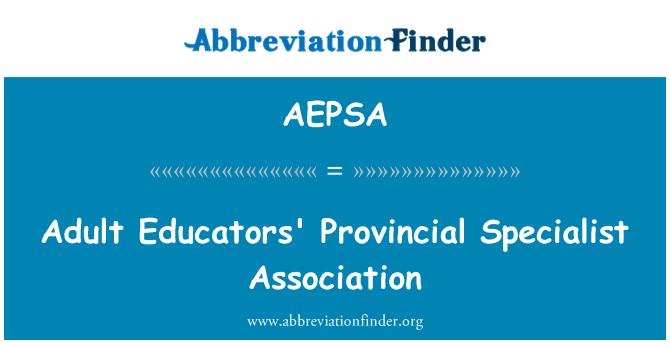 AEPSA: Adult Educators' Provincial Specialist Association