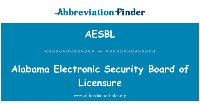 AESBL: Alabama Electronic Security Board of Licensure
