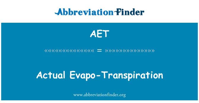 AET: Actual Evapo-Transpiration