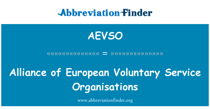 AEVSO: Alliance of European Voluntary Service Organisations