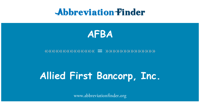 AFBA: Allied First Bancorp, Inc.