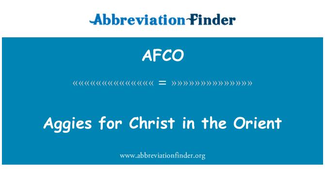 AFCO: 听不见你们为基督在东方的
