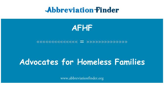 AFHF: Defensores de las familias sin techo