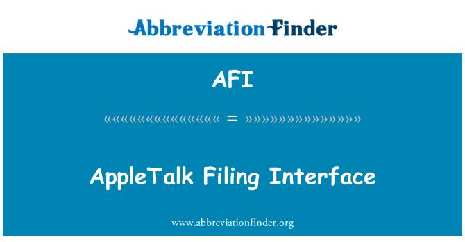AFI: AppleTalk Filing Interface