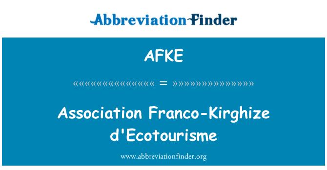 AFKE: Association Franco-Kirghize d'Ecotourisme