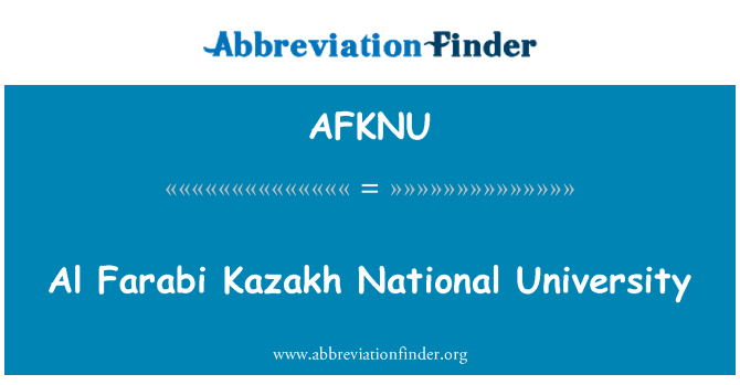 AFKNU: Al Farabi Kazakh National University