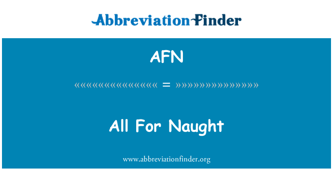 AFN: Wszystko na marne