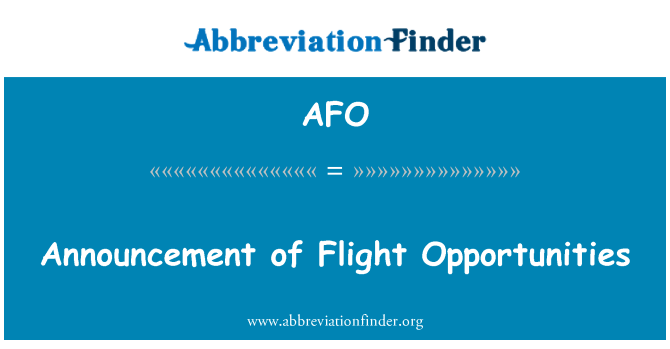AFO: Announcement of Flight Opportunities