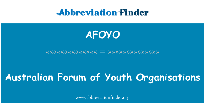 AFOYO: Australian Forum of Youth Organisations